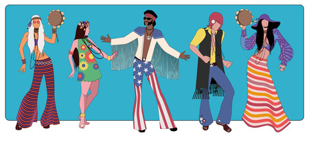 Group of five wearing hippie clothes of the 60's and 70's dancing.