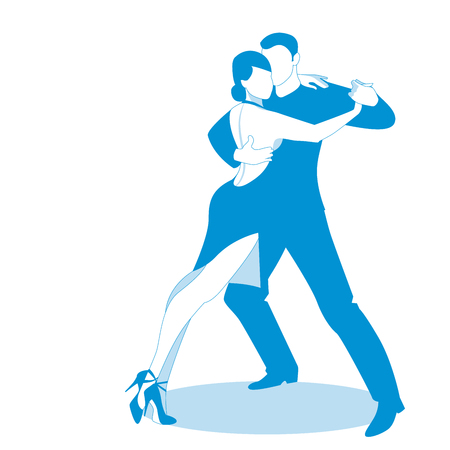 Couple dancing passionate argentine tango, isolated on white background