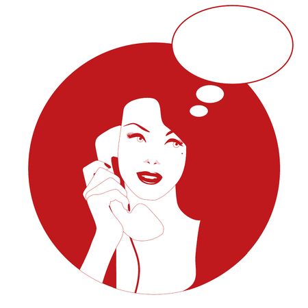 Woman on the vintage phone and blank thinking balloon. Retro style. Illustration