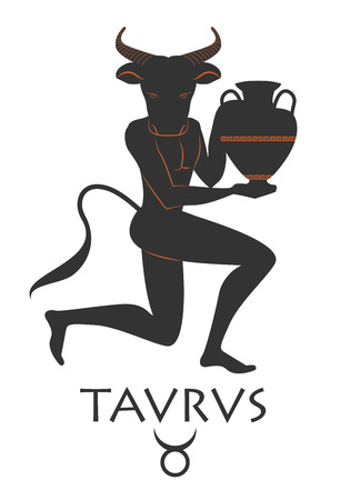 Zodiac in the style of Ancient Greece. Taurus.
