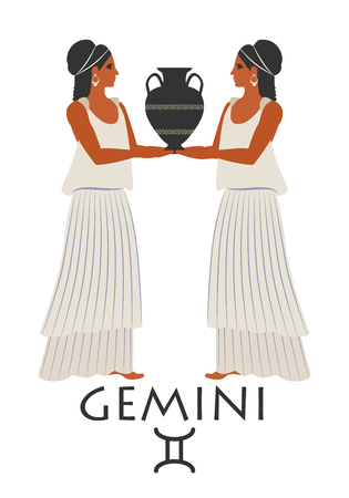 Zodiac in the style of Ancient Greece. Gemini.