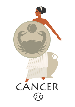 Zodiac in the style of Ancient Greece. Cancer.