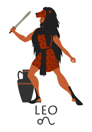 Zodiac in the style of Ancient Greece. Leo.