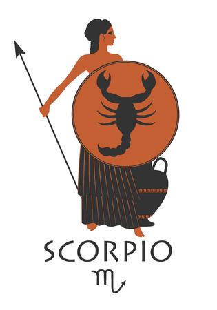 Zodiac in the style of Ancient Greece. Scorpio. Illustration