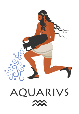 Zodiac in the style of Ancient Greece. Aquarius.