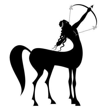 Zodiac in the style of Ancient Greece. Sagittarius. Black figure representing a centaur with long hair and laurel wreath, tensing a bow to shoot an arrow. Amphora at your feet. Isolated on white background.