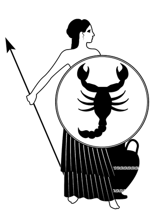 Zodiac in the style of Ancient Greece. Scorpio. Warrior woman dressed in the style of ancient Greece, wearing a shield with a scorpion and spear with an amphora at his feet. Isolated on white background. Illusztráció