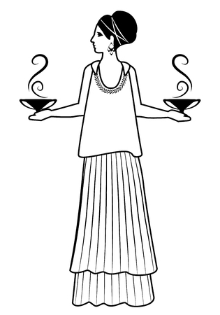 Zodiac in the style of Ancient Greece. Libra. Woman dressed in the style of ancient Greece carrying small amphoras or smoking vessels in each hand. Isolated on white background. Illustration
