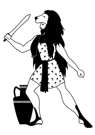 Lady dressed in the skin of a lion with sword in hand and an amphora at his feet on black and white illustration.