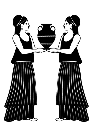 Two girls wearing clothes and earrings in the style of ancient Greece carrying an amphora on black and white illustration.