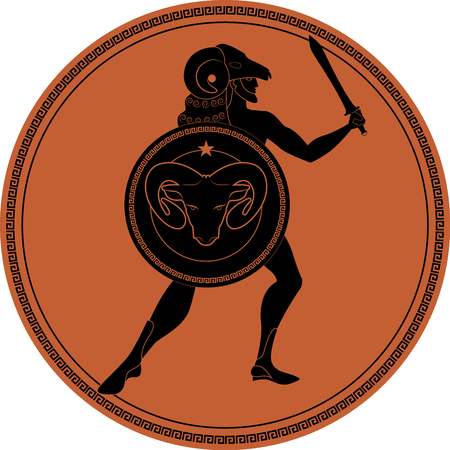 Zodiac in the style of Ancient Greece, Aries. Greek hero with a beard wearing a ram coat, sword in hand and ram head shield. Black figure inscribed in a circle surrounded by a fret. Ilustração