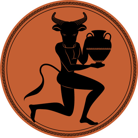 Zodiac in the style of Ancient Greece, Taurus. Black figure of man with head of bull, horns and tail, knee in earth carrying an amphora. Black figure inscribed in a circle surrounded by a fret. Ilustração