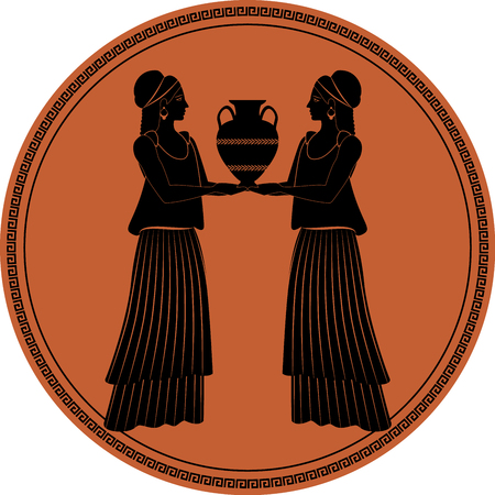 Zodiac in the style of Ancient Greece, Gemini. Two girls wearing clothes and earrings in the style of ancient Greece carrying an amphora. Black figure inscribed in a circle surrounded by a fret.