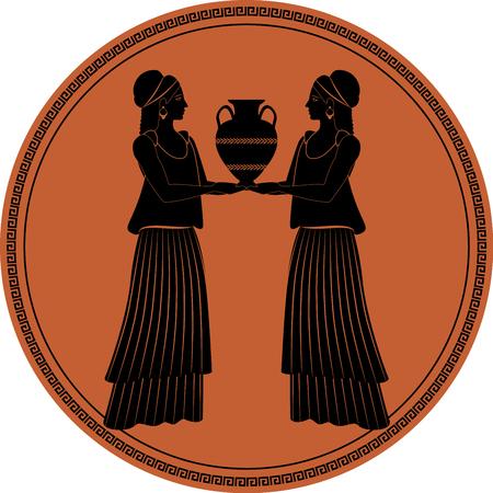 Zodiaco nello stile dell'antica Grecia, Gemelli. Due ragazze che indossano abiti e orecchini nello stile dell'antica Grecia portando un'anfora. Figura nera incisa in un cerchio circondato da un tasto. Archivio Fotografico - 99727895