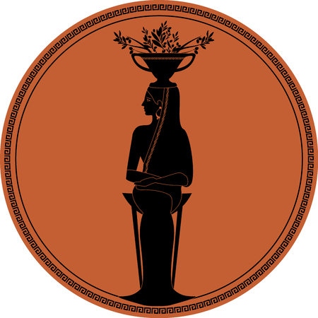 Zodiac in the style of Ancient Greece, Virgo. Woman dressed in the style of ancient Greece, sitting on a tripod and carrying an amphora with olive branches on her head. Black figure inscribed in a circle surrounded by a fret.