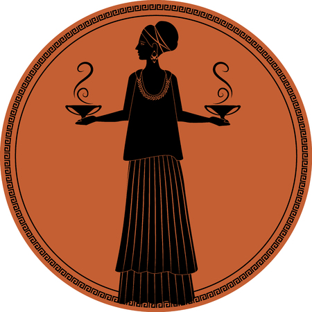 Zodiac in the style of Ancient Greece, Libra. Woman dressed in the style of ancient Greece carrying small amphoras or smoking vessels in each hand. Black figure inscribed in a circle surrounded by a fret.