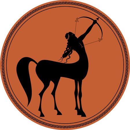 Zodiac in the style of Ancient Greece, Sagittarius. Black figure representing a centaur with long hair and laurel wreath, tensing a bow to shoot an arrow inscribed in a circle surrounded by a fret.