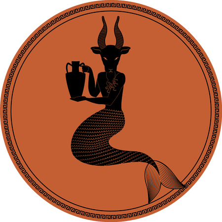 Zodiac in the style of Ancient Greece, Capricorn. Mythological figure of man with goats head and fish tail holding an amphora. Black figure inscribed in a circle surrounded by a fret.
