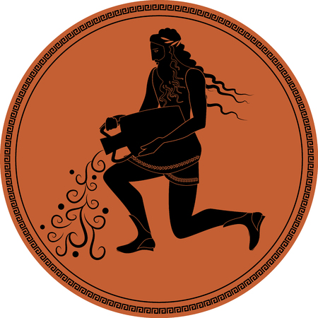 Zodiac in the style of Ancient Greece, Aquarius. Man with a beard, long hair and laurel wreath, resting on one knee, pouring water from an amphora. Black figure inscribed in a circle surrounded by a fret.