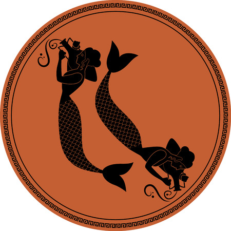 Zodiac in the style of Ancient Greece, Pisces. Two girls with fish tails, carrying Greek amphoras on their shoulders. Sirens. Black figures inscribed in a circle surrounded by a fret. Illustration