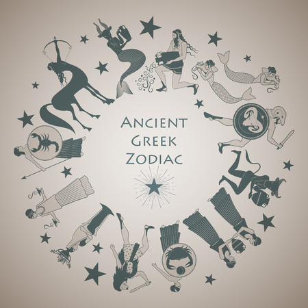 Zodiac wheel in the style of Ancient Greece
