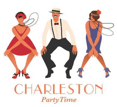 Two flapper girls and one man dancing Charleston. Vector Illustration Stock Illustratie