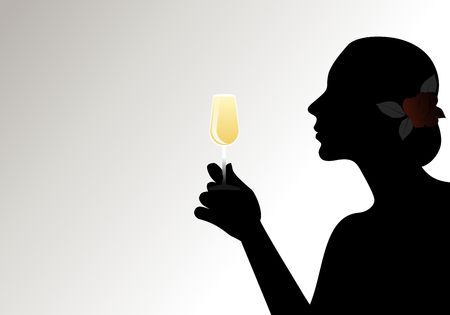 Silhouette of woman with flower in her hair, holding a glass of white wine. Isolated against back light on light background.