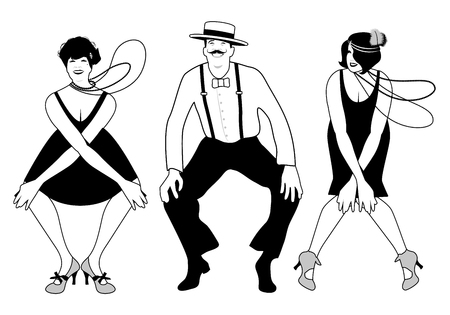 Two flapper girls and one man dancing Charleston. Vector Illustration.