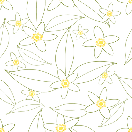 Seamless pattern of orange blossom flowers outlines on white background.
