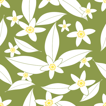Seamless pattern of orange blossom flowers outlines on green background.