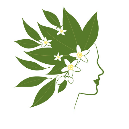 Profile line of woman with flowers and orange blossom leaves as hair.