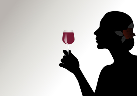 Silhouette of woman with flower in her hair, holding a glass of red wine. Isolated against back light on light background.