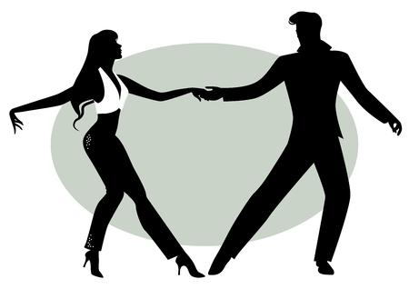 Siluetas, de, pareja joven, bailando