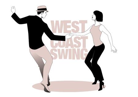 Junges Paar tanzt Schaukel. Westküstenstil