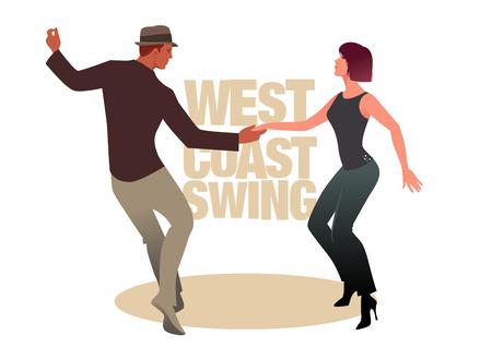 Joven pareja bailando swing. Estilo de la costa oeste
