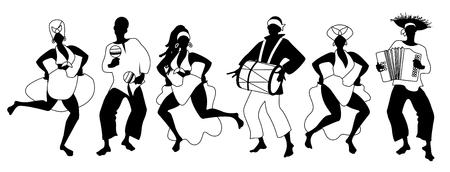 Group of men and women dancing and playing latin isolated on white background Illustration