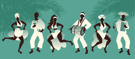 Group of men and women dancing and playing latin music on tropical background with palm trees Stock Illustratie