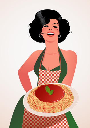 Beautiful Italian Cook showing spaghetti bolognese plate. She wears green dress and red checkered apron. Иллюстрация