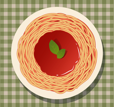 Spaghetti with tomato sauce and basil leaves on a checkered tablecloth. Ilustracja