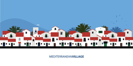 Mediterranean Spanish houses, palms, birds and blue sky bakground. Vector illustration