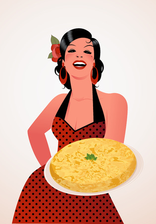 Beautiful Spanish Cook with Potato Omelette. She wears a polka-dot dress or apron and a flower in her hair. Ilustração
