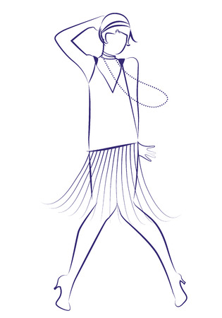 Flapper girl wearing 1920s clothes and long necklaces dancing charleston. Ink line drawing on white background.