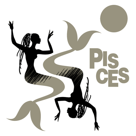 Tribal zodiac. Pisces. Two mermaids or women with fish tail, long dreadlocks decorated with pearls Ilustrace