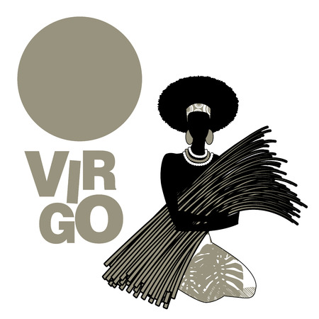 Tribal zodiac  Virgo  Woman in patterned dress with plants, earrings
