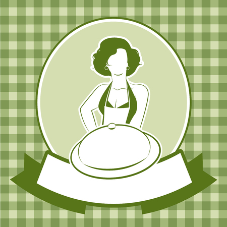 Retro housewife cook wearing apron showing a plate or tray and blank label for your text Stock Illustratie