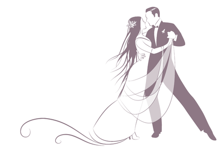 Elegant groom and beautiful bride with long mane dancing the wedding dance. Blank space for your text