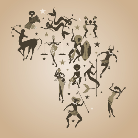 Zodiac map of Africa. Signs of the zodiac African or tribal style, creating the shape of the map of Africa