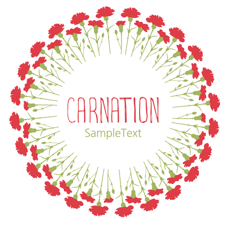 Carnations wreath circle. Text hand drawn. Isolated on white background
