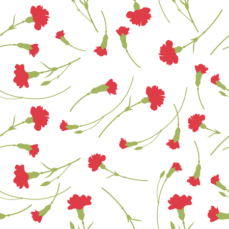 Seamless carnation flowers pattern on white background. Stock Illustratie