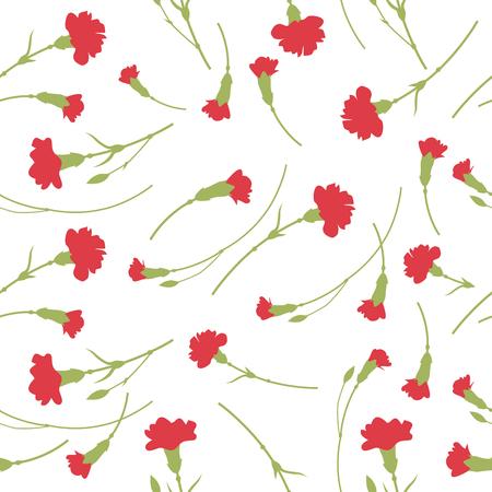 Seamless carnation flowers pattern on white background. Vettoriali